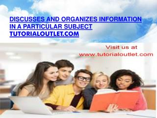 Discusses and organizes information in a particular subject
