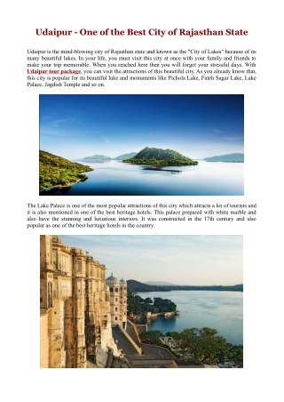 Udaipur - One of the Best City of Rajasthan State