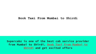 Book Outstation Cab From Mumbai to Shirdi