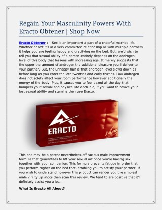 Regain Your Masculinity Powers With Eracto Obtener
