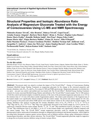 Trivedi Effect - Structural Properties and Isotopic Abundance Ratio Analysis of Magnesium Gluconate Treated with the Ene