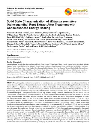 Trivedi Effect - Solid State Characterization of Withania somnifera (Ashwagandha) Root Extract After Treatment with Cons