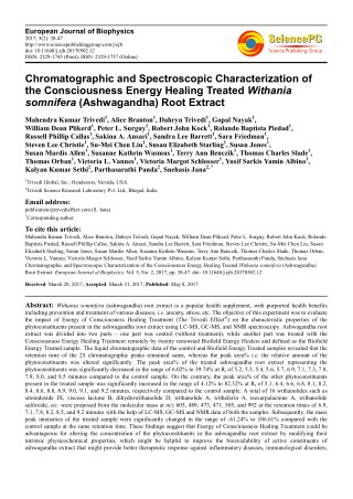 Trivedi Effect - Chromatographic and Spectroscopic Characterization of the Consciousness Energy Healing Treated Withania