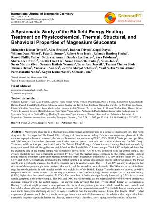 Trivedi Effect - A Systematic Study of the Biofield Energy Healing Treatment on Physicochemical, Thermal, Structural, an