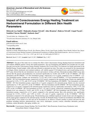 Trivedi Effect - Impact of Consciousness Energy Healing Treatment on Herbomineral Formulation in Different Skin Health P