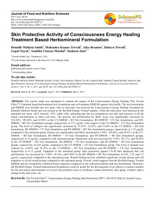 Trivedi Effect - Skin Protective Activity of Consciousness Energy Healing Treatment Based Herbomineral Formulation