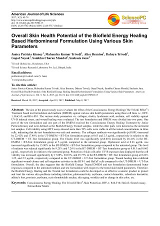 Trivedi Effect - Overall Skin Health Potential of the Biofield Energy Healing Based Herbomineral Formulation Using Vario