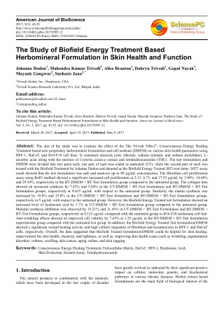 Trivedi Effect - The Study of Biofield Energy Treatment Based Herbomineral Formulation in Skin Health and Function