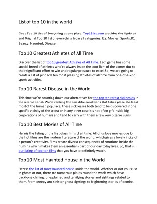 List of top 10 in the world