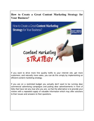 How to Create a Great Content Marketing Strategy for Your Business?
