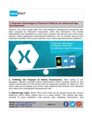 7 Supreme Advantages of Xamarin Platform for Advanced App Development