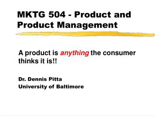 MKTG 504 - Product and Product Management