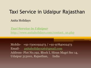 Taxi Service in Udaipur Rajasthan