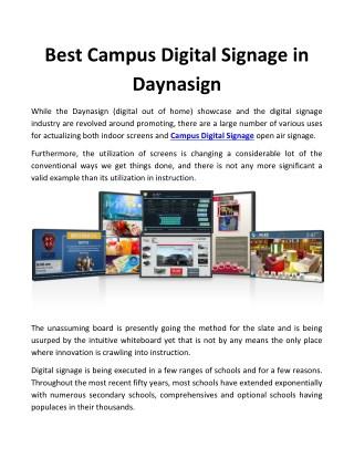 Best Campus Digital Signage in Daynasign