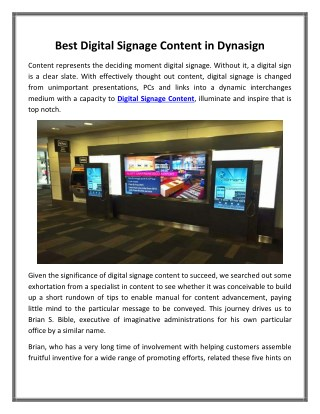 Best Digital Signage Content in Dynasign