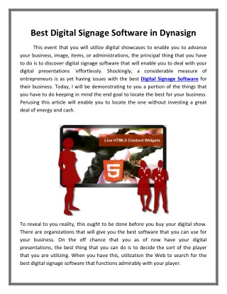 Best Digital Signage Software in Dynasign