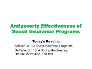 Antipoverty Effectiveness of Social Insurance Programs