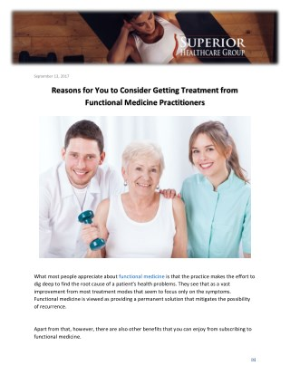 Reasons for You to Consider Getting Treatment from Functional Medicine Practitioners