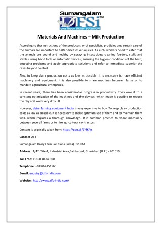 Materials And Machines – Milk Production