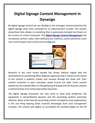 Digital Signage Content Management in Dynasign