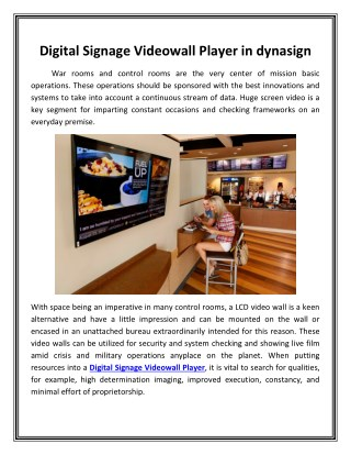 Digital Signage Videowall Player in dynasign