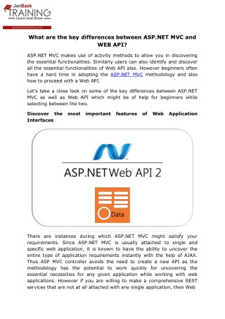 What are the key differences between ASP.NET MVC and WEB API?