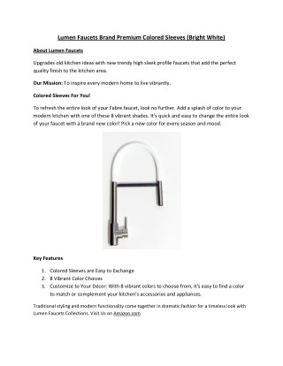 Lumen Faucets Brand Premium Colored Sleeves (Bright White)