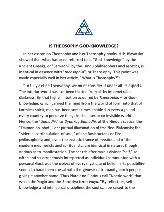 IS THEOSOPHY GOD-KNOWLEDGE?