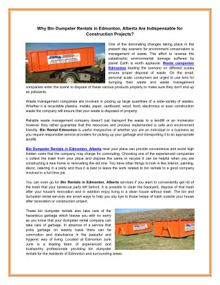 Why Bin Dumpster Rentals in Edmonton, Alberta Are Indispensable for Construction Projects?