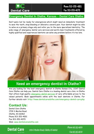 Emergency Dentist In Olathe - Dental Care Olathe
