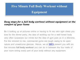 Five Minute Full Body Workout Without Equipment