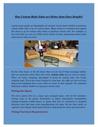 How Custom Made Sofas are Better than Store Bought?
