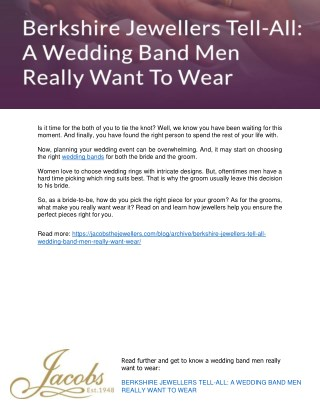 Berkshire Jewellers Tell-All: A Wedding Band Men Really Want To Wear