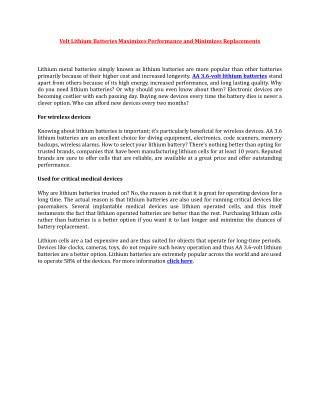Volt Lithium Batteries Maximizes Performance and Minimizes Replacements
