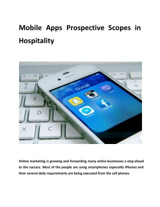 Mobile Apps Prospective Scopes in Hospitality