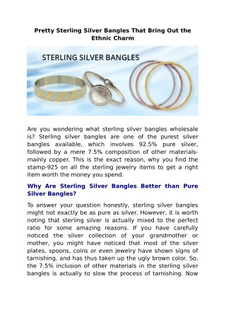 Pretty Sterling Silver Bangles That Bring Out the Ethnic Charm