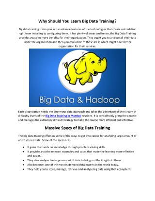 Big data training in mumbai