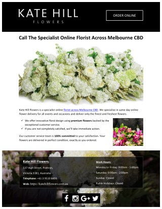 Call The Specialist Online Florist Across Melbourne CBD