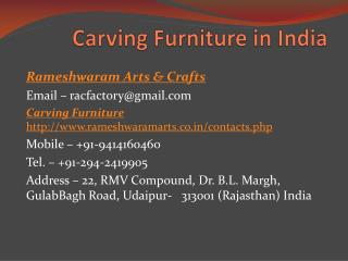 Carving Furniture in India