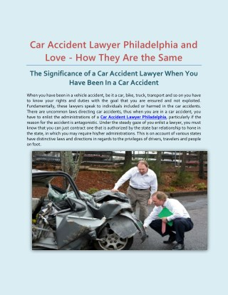 Car Accident Lawyer Philadelphia and Love - How They Are the Same