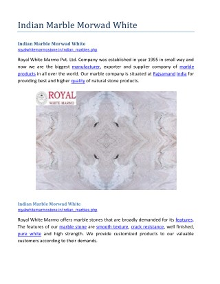 Indian Marble Morwad White