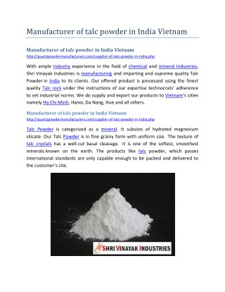 Manufacturer of talc powder in India Vietnam