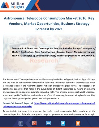 Astronomical Telescope Consumption Market 2016: Key Vendors, Market Opportunities, Business Strategy Forecast by 2021