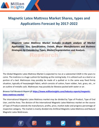 Magnetic Latex Mattress Market Shares, types and Applications Forecast by 2017-2022