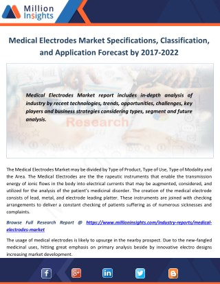 Medical Electrodes Market Specifications, Classification, and Application Forecast by 2017-2022