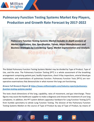 Pulmonary Function Testing Systems Market 2017: Manufacturers, Manufacturing cost and Forecast 2022