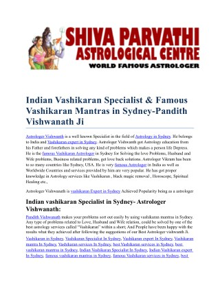 Indian vashikaran Mantras in Sydney
