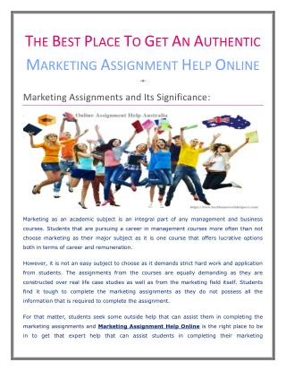 The best place to get an authentic Marketing Assignment Help Online