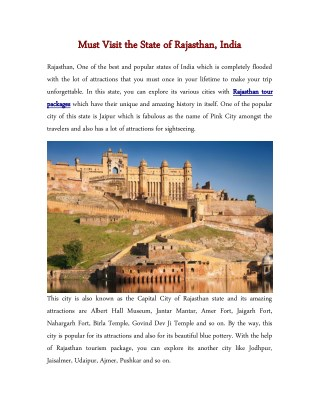 Must Visit the State of Rajasthan, India