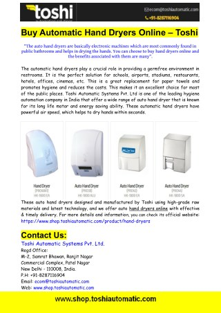 Buy Automatic Hand Dryers Online From Toshi Automatic